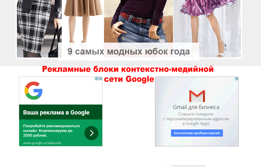 Рекламные блоки контекстно-медийной сети Google